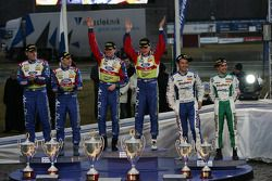Podium: winners Jari-Matti Latvala and Miikka Anttila, second place Mikko Hirvonen and Jarmo Lehtinen, third place Gigi Galli and Giovanni Bernacchini