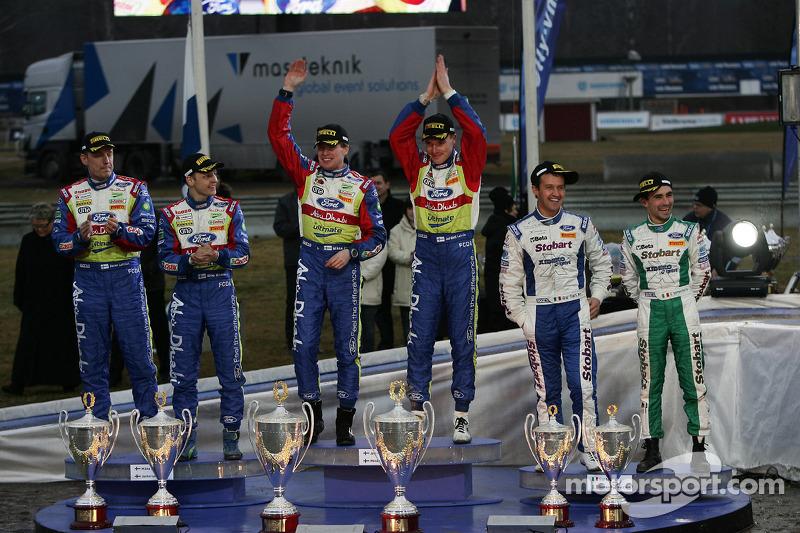 Podium: winners Jari-Matti Latvala and Miikka Anttila, second place Mikko Hirvonen and Jarmo Lehtine
