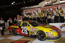 Victory lane: race winner Michael Annett celebrates