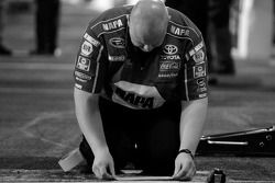 NAPA Toyota crew member prepares pit area