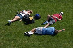 Fans enjoy the trioval grass