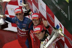 Podium: race winner Luca Filippi, second place Sébastien Buemi, third place Adrian Valles/ Filippi w