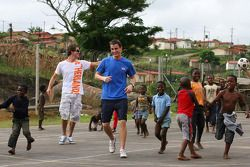 Arie Luyendyk Jr., driver of A1 Team Netherlands and Oliver Jarvis, driver of A1 Team Great Britain, Food4Africa, Mount Moriah Ministries Care and Support Centre, a charitable organisation that cares for disadvantaged children