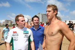 Adam Carroll, driver of A1 Team Ireland with Jonathan Cochet, driver of A1 Team France