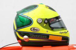 De helm van Bruno Junqueira