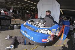 ForeTravel Bimoet Chevrolet crew members at work on the car of Mark Green