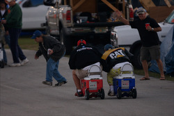 A Coleman cooler race in the infield