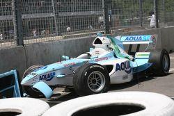 Narain Karthikeyan, driver of A1 Team India, crash damage