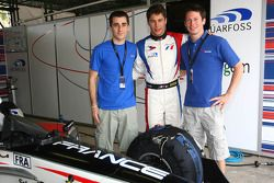 Nicolas Prost, driver of A1 Team France, Loic Duval, driver of A1 Team France and Jonathan Cochet, driver of A1 Team France