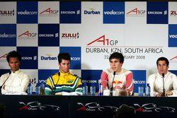 Adrian Zaugg, driver of A1 Team South Africa, Bruno Junqueira, driver of A1 Team Brazil, Robert Wickens, driver of A1 Team Canada and Neel Jani, driver of A1 Team Switzerland
