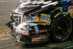 Colin Braun on pit road with massive damage
