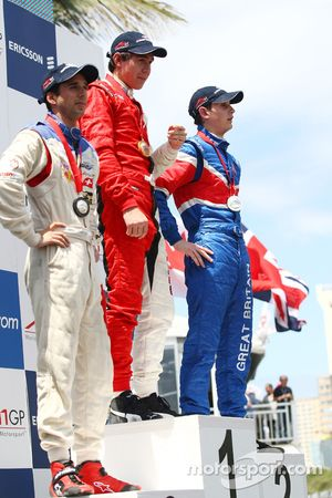 Race winner Neel Jani, driver of A1 Team Switzerland, 2nd, Loic Duval, driver of A1 Team France, 3rd