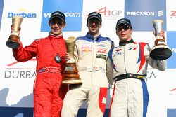 Race winner Neel Jani, driver of A1 Team Switzerland, 2nd, Loic Duval, driver of A1 Team France, 3rd, Filipe Albuquerque, driver of A1 Team Portugal