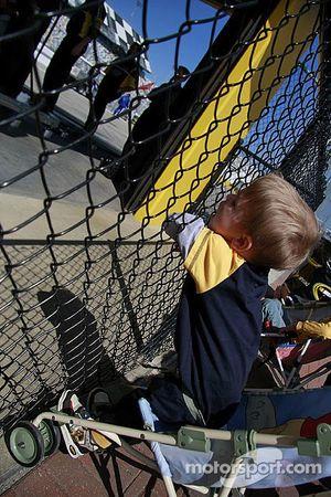 A young fan enjoys the Budweiser Shootout inspection