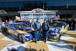 Pole winner Jimmie Johnson with second place qualifier Michael Waltrip in victory lane