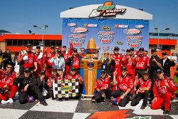 Victory lane: race winner Carl Edwards celebrates with his team