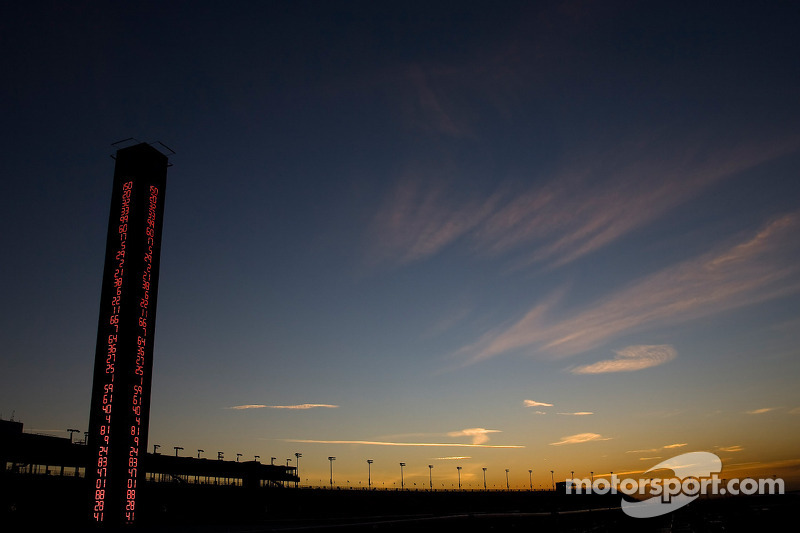 The sun sets on the grandstand at the Auto Club Speedway of Southern California