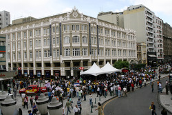 Autograph signing in the streets of Curitiba