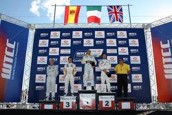 Podium, Gabriele Tarquini, SEAT Sport, SEAT Leon TDI, Felix Porteiro, BMW Team Italy-Spain, BMW 320s