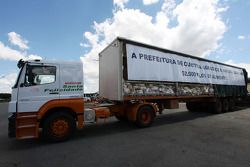 A lorry carrying the food from the tickets of spectators. Each spectator gave 2kg food for there ticket