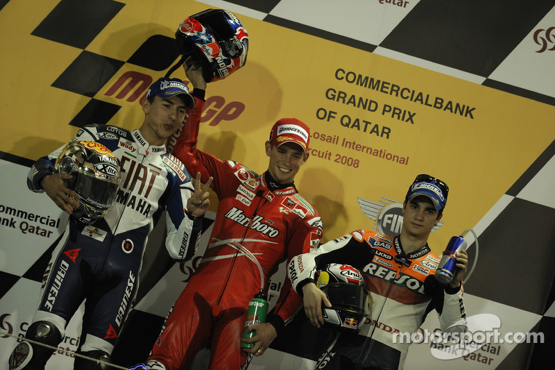 Podio: 1º Casey Stoner, 2º Jorge Lorenzo, 3º Dani Pedrosa
