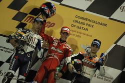 Podium: winnaar Casey Stoner met Jorge Lorenzo en Dani Pedrosa