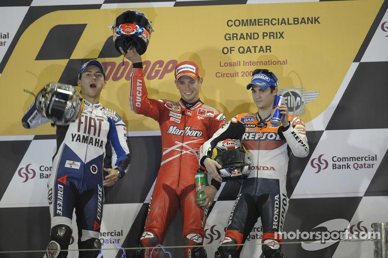 Podium : Casey Stoner, vainqueur, avec Jorge Lorenzo et Dani Pedrosa