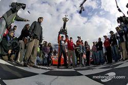 Victory lane: Jeff Burton celebrates