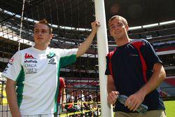 Adam Carroll, driver of A1 Team Ireland and Jonathan Summerton, driver of A1 Team USA at the Azteca stadium
