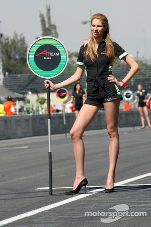 Grid girl of Bruno Junqueira, driver of A1 Team Brazil