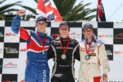 Sprint race podium, Oliver Jarvis, driver of A1 Team Great Britain, Jonny Reid, driver of A1 Team New Zealand and Neel Jani, driver of A1 Team Switzerland