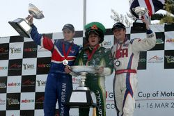 Oliver Jarvis, driver of A1 Team Great Britain, Adam Carroll, driver of A1 Team Ireland and Jonathan