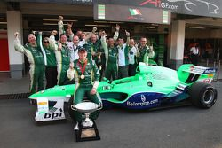 Adam Carroll, driver of A1 Team Ireland and team celebrate