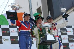 Feature Race Podium, Oliver Jarvis, driver of A1 Team Great Britain, Adam Carroll, driver of A1 Team Ireland and Jonathan Summerton, driver of A1 Team USA