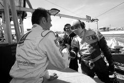 Fastest in qualifying session Stéphane Sarrazin celebrates