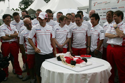 Timo Glock, Toyota F1 Team is given a birthday cake by his team
