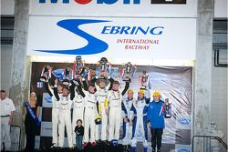 GT1 podium: class winners Johnny O'Connell, Jan Magnussen and Ron Fellows, second place Olivier Bere