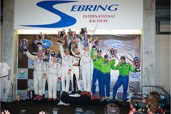 GT2 podium: class winners Jorg Bergmeister, Wolf Henzler and Marc Lieb, second place Darren Law, Set