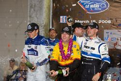 P2 podium: Marino Franchitti gives a champagne shower to Romain Dumas