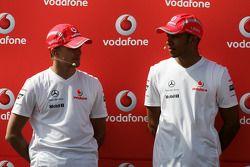 Heikki Kovalainen and Lewis Hamilton