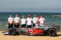 Lewis Hamilton, McLaren Mercedes, Heikki Kovalainen, McLaren Mercedes, Craig Lowndes, Jamie Whincup,