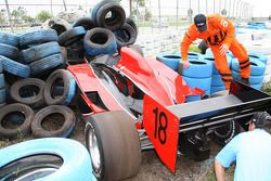 Bruno Junqueira's car in the tire wall