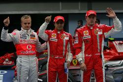 Pole winner Felipe Massa, Scuderia Ferrari, Kimi Raikkonen, Scuderia Ferrari, Heikki Kovalainen, McLaren Mercedes
