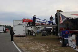 Crewmembers unloading Jay Payne's Top Alcohal Funny Car