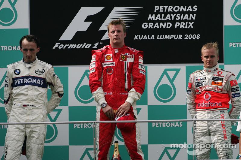 2008: 1. Kimi Räikkönen, 2. Robert Kubica, 3. Heikki Kovalainen
