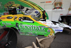 Tony Bartone's funny car body in pit after hitting saftey wall