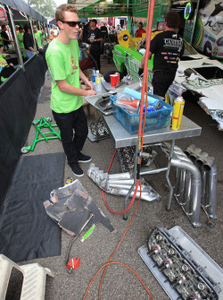 View of Tony Bartone's pit after qualifying round one accident