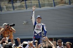 Jorge Lorenzo celebrates podium finish
