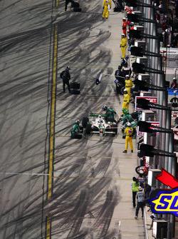 Tony Kanaan makes a pit stop