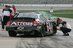 Goodyear tire engineers check tire pressures for David Stremme
